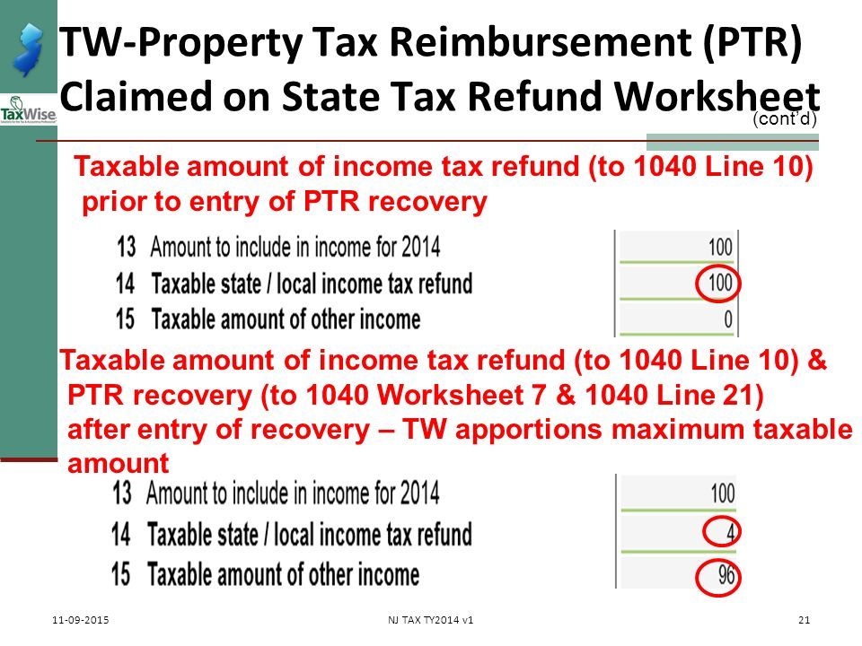 Property Tax Rebates Recoveries PTR Homestead Benefit ppt – 1040 Worksheet