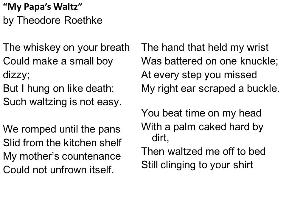 an examination of my papas waltz by theodore roethke