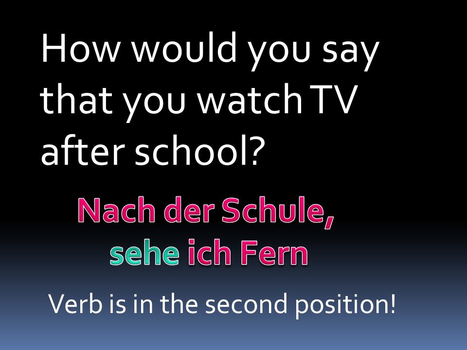 How would you say that you watch TV after school Nach der Schule,