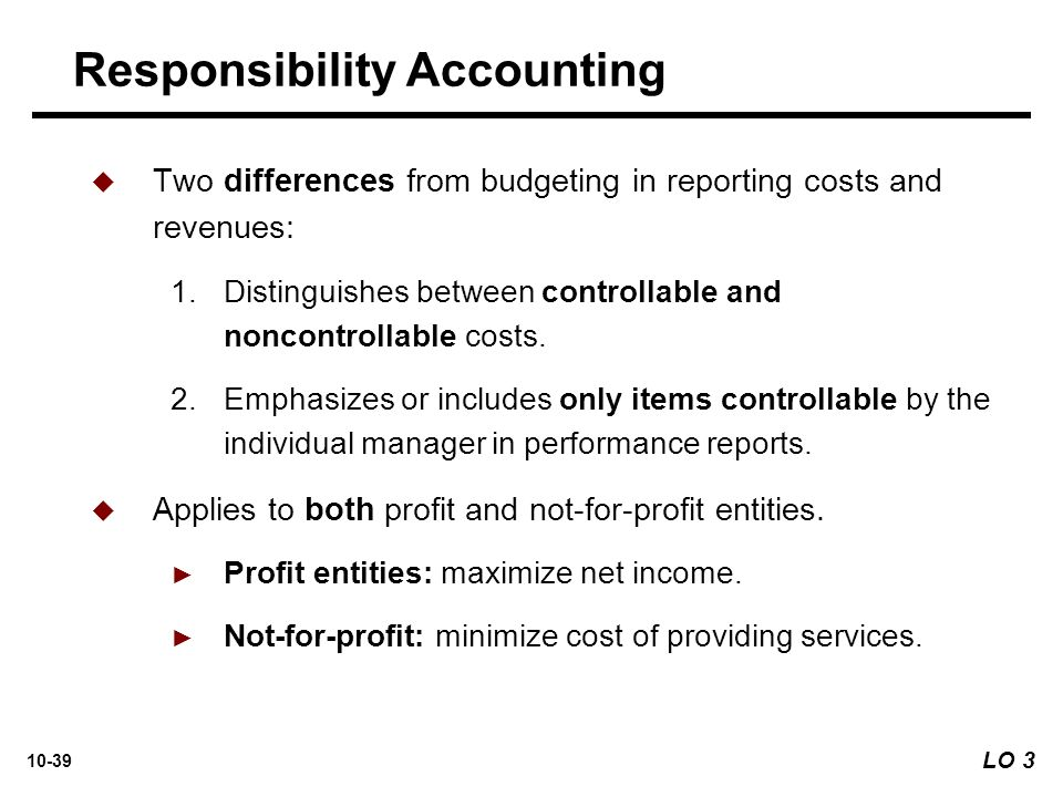 responsibility accounting and cost control Budgetary control and responsibility accounting are seen to be inseparable each manager must have a well-defined area of responsibility and the authority to make.