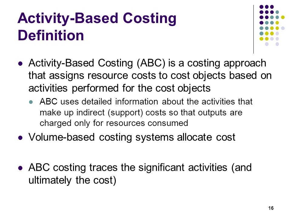 activity based costing term paper Activity based costing (abc) is a relative new way to allocate costs to specific processes and services this system assures that the costs are accurately distributed to the products or services that generated them.