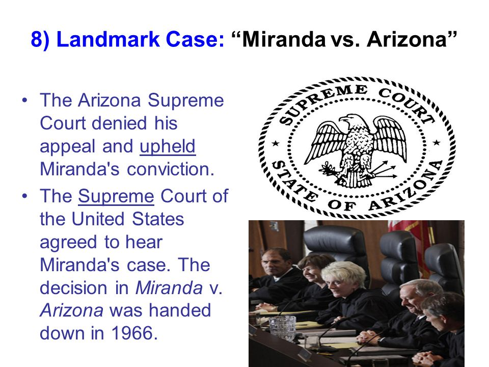 miranda vs arizona case Miranda v arizona what is miranda and how has it strengthened or weakened the ability of the police to solve crimes i will answer this question by first.