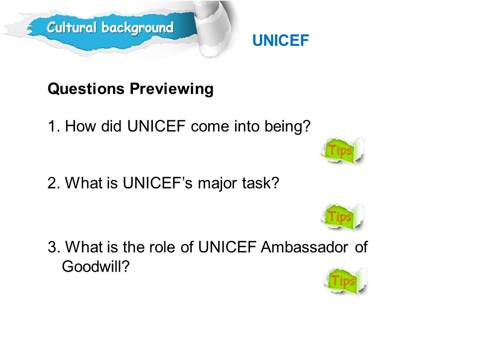 1. How did UNICEF come into being