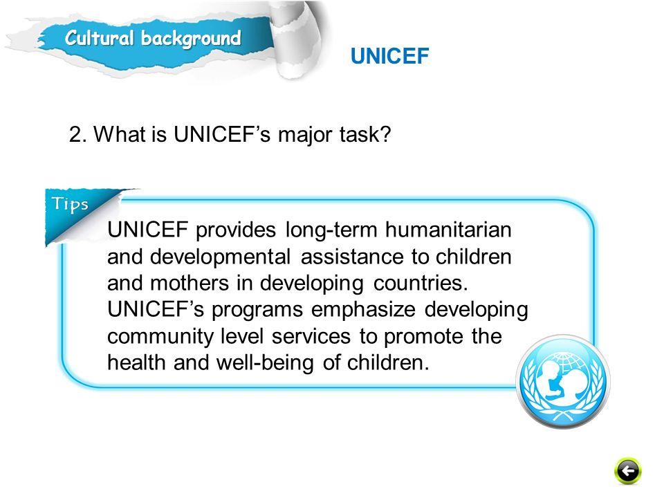 2. What is UNICEF's major task