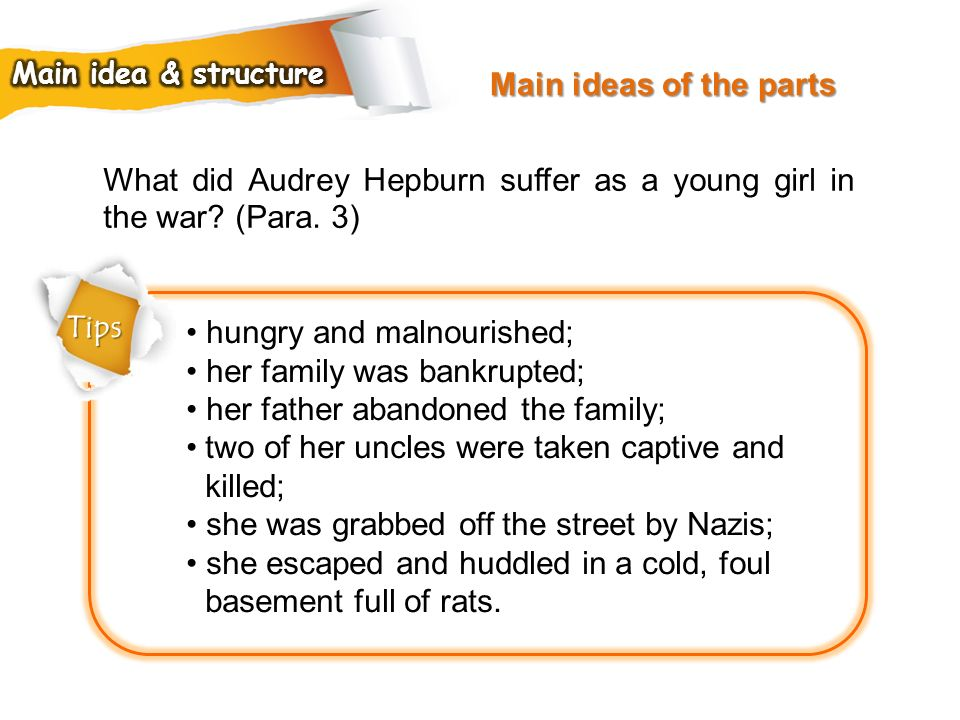 What did Audrey Hepburn suffer as a young girl in the war (Para. 3)