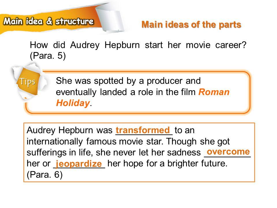 How did Audrey Hepburn start her movie career (Para. 5)