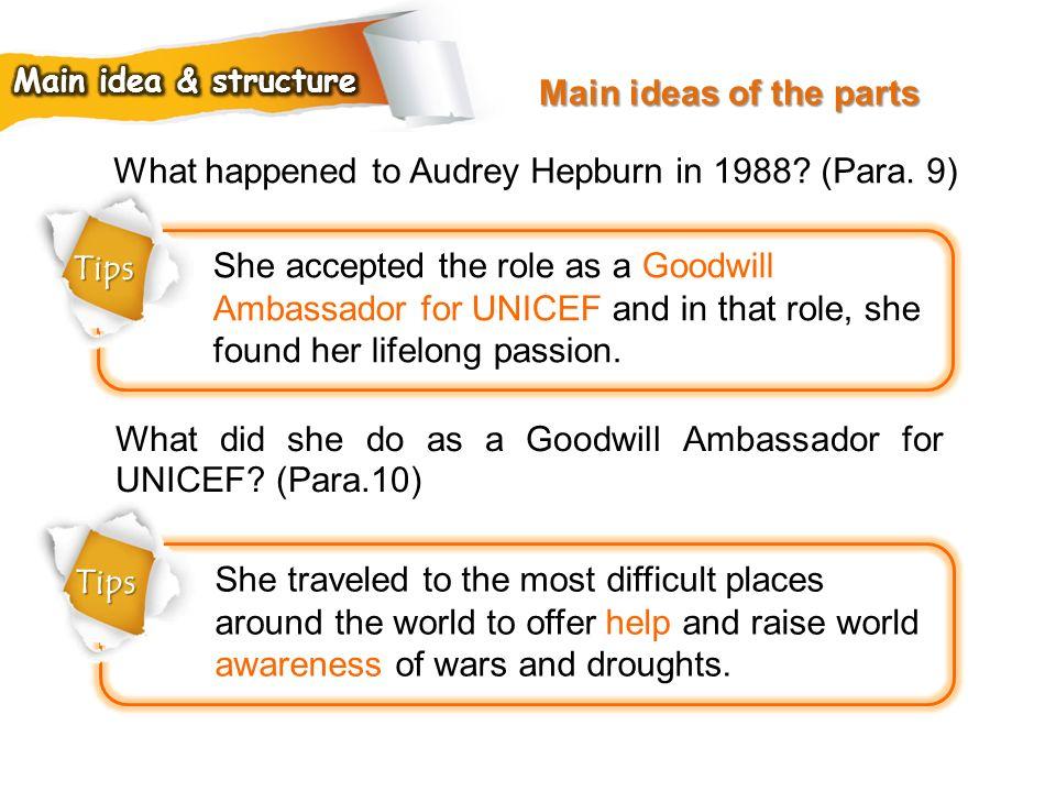 What happened to Audrey Hepburn in 1988 (Para. 9)