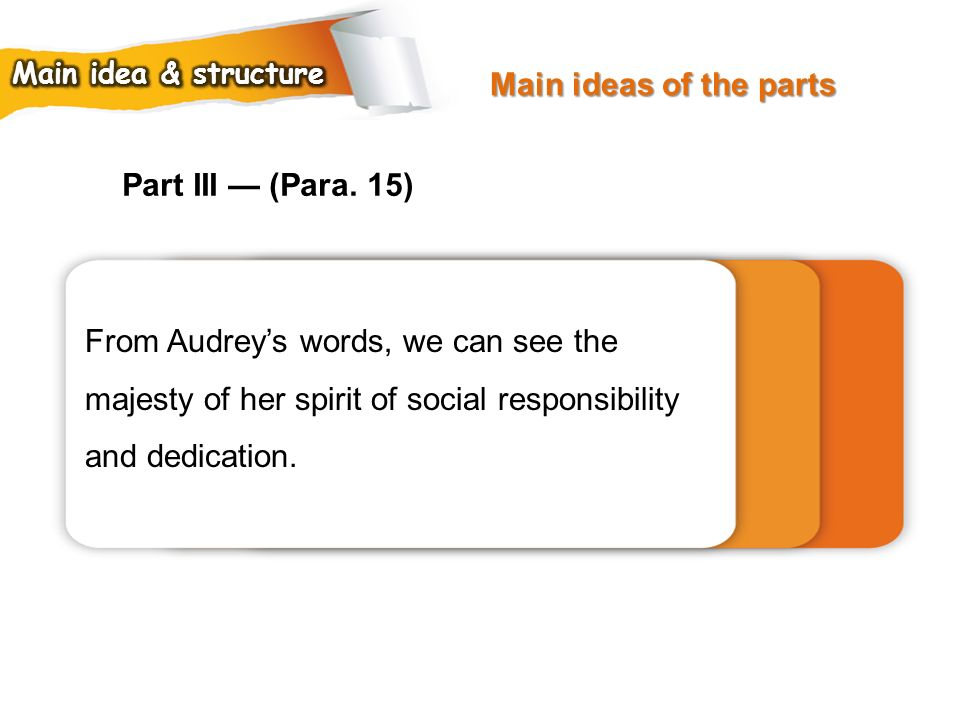 Main ideas of the parts Part III — (Para. 15)