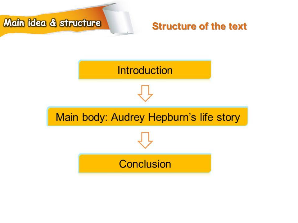 Main body: Audrey Hepburn's life story