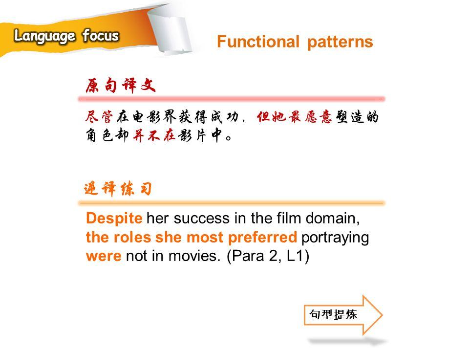 原句译文 逆译练习 Functional patterns 尽管在电影界获得成功,但她最愿意塑造的角色却并不在影片中。