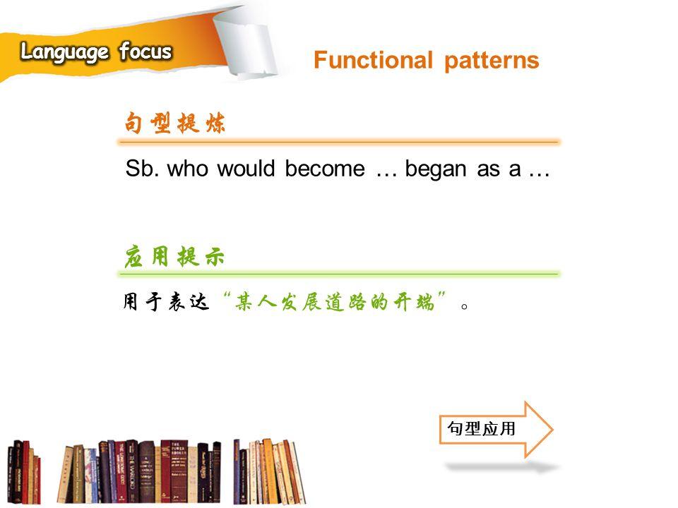 句型提炼 应用提示 Functional patterns Sb. who would become … began as a …