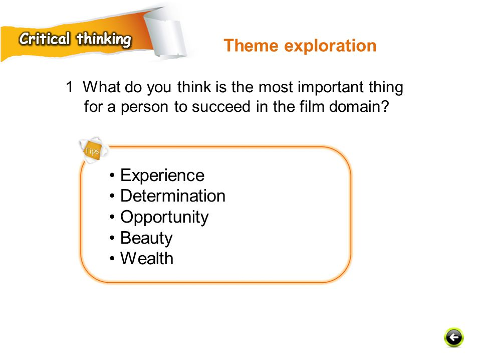 Theme exploration • Experience • Determination • Opportunity • Beauty