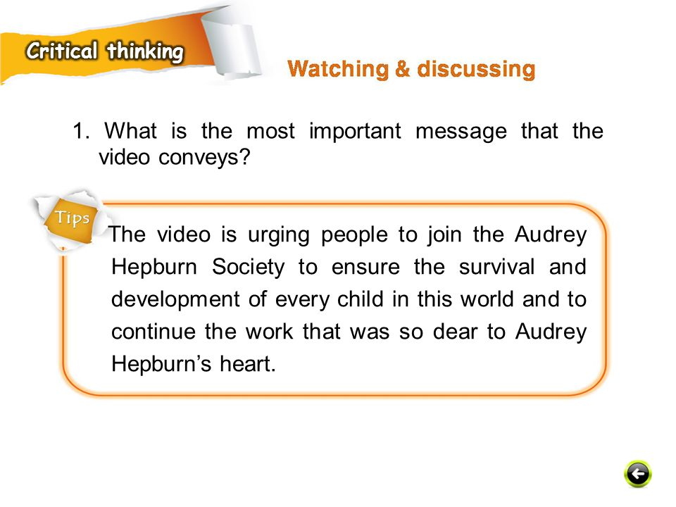 1. What is the most important message that the video conveys