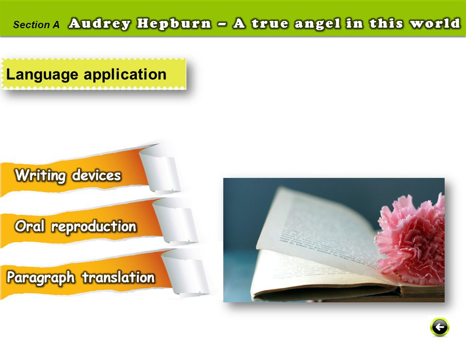 Language application Writing devices Oral reproduction