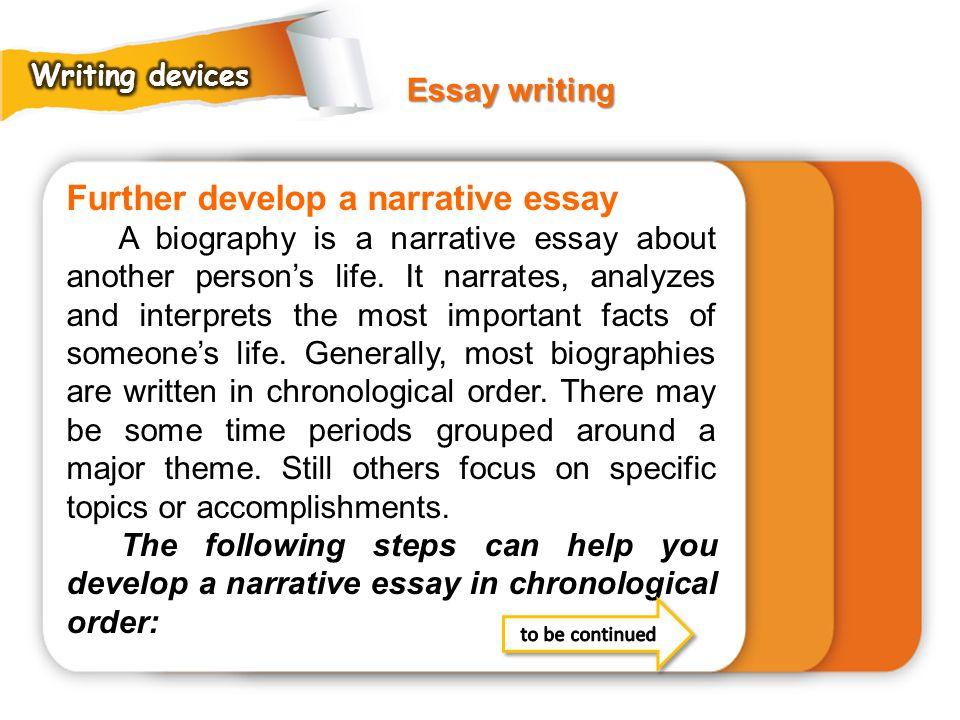 Further develop a narrative essay