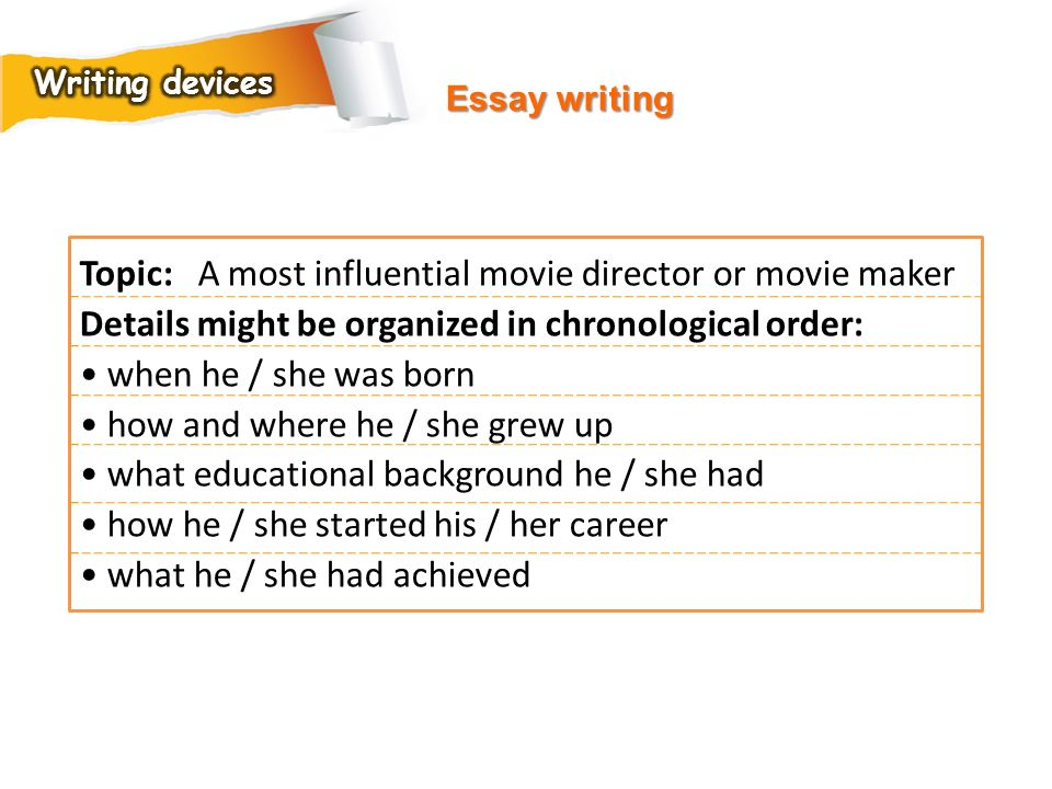 Topic: A most influential movie director or movie maker
