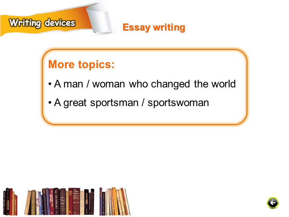 More topics: • A man / woman who changed the world