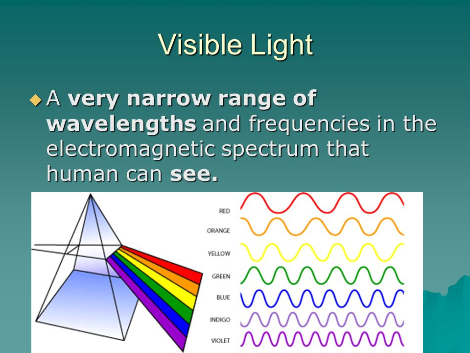 Visible Light A very narrow range of wavelengths and frequencies in the electromagnetic spectrum that human can see.