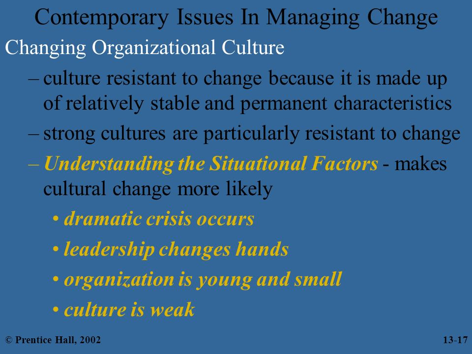 Contemporary concepts of innovation and organisation changes