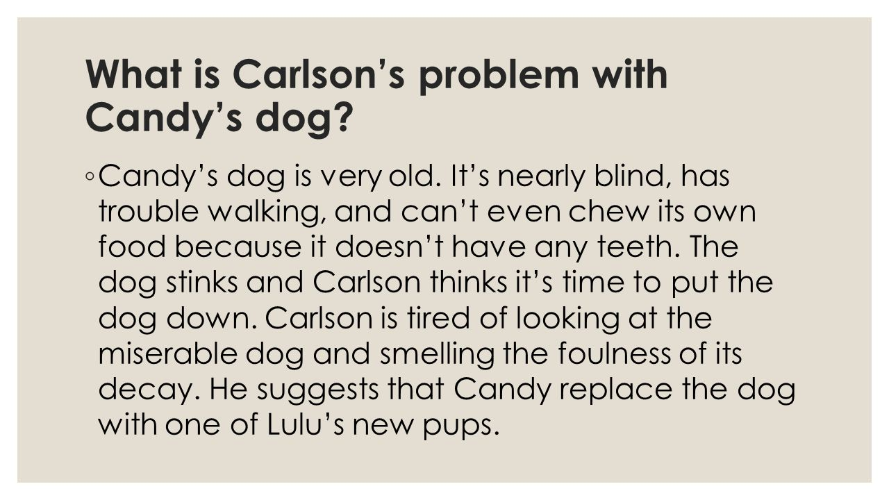 What is Carlson's problem with Candy's dog
