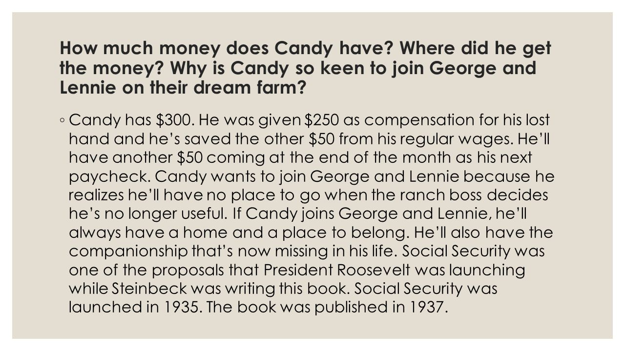 How much money does Candy have. Where did he get the money