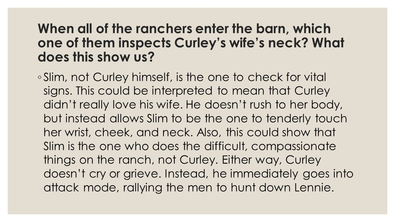 curleys wife Curley's wife character analysis - free download as pdf file (pdf), text file (txt) or read online for free an essay on curley's wife from.