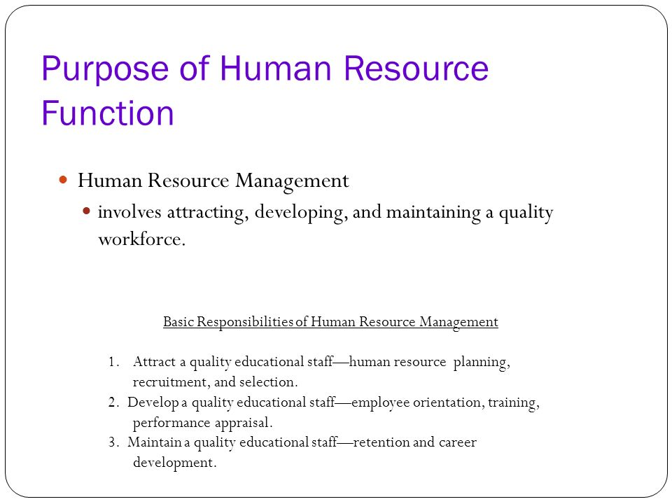The Human Resource Function In Schools Ppt Download