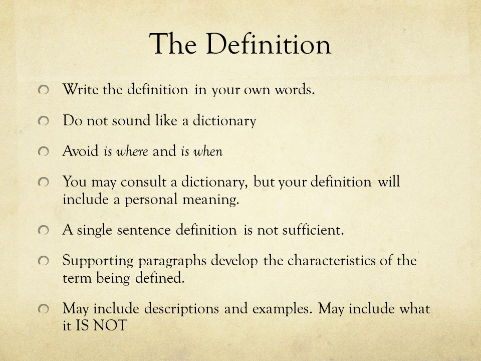 the definition essay ppt the definition write the definition in your own words