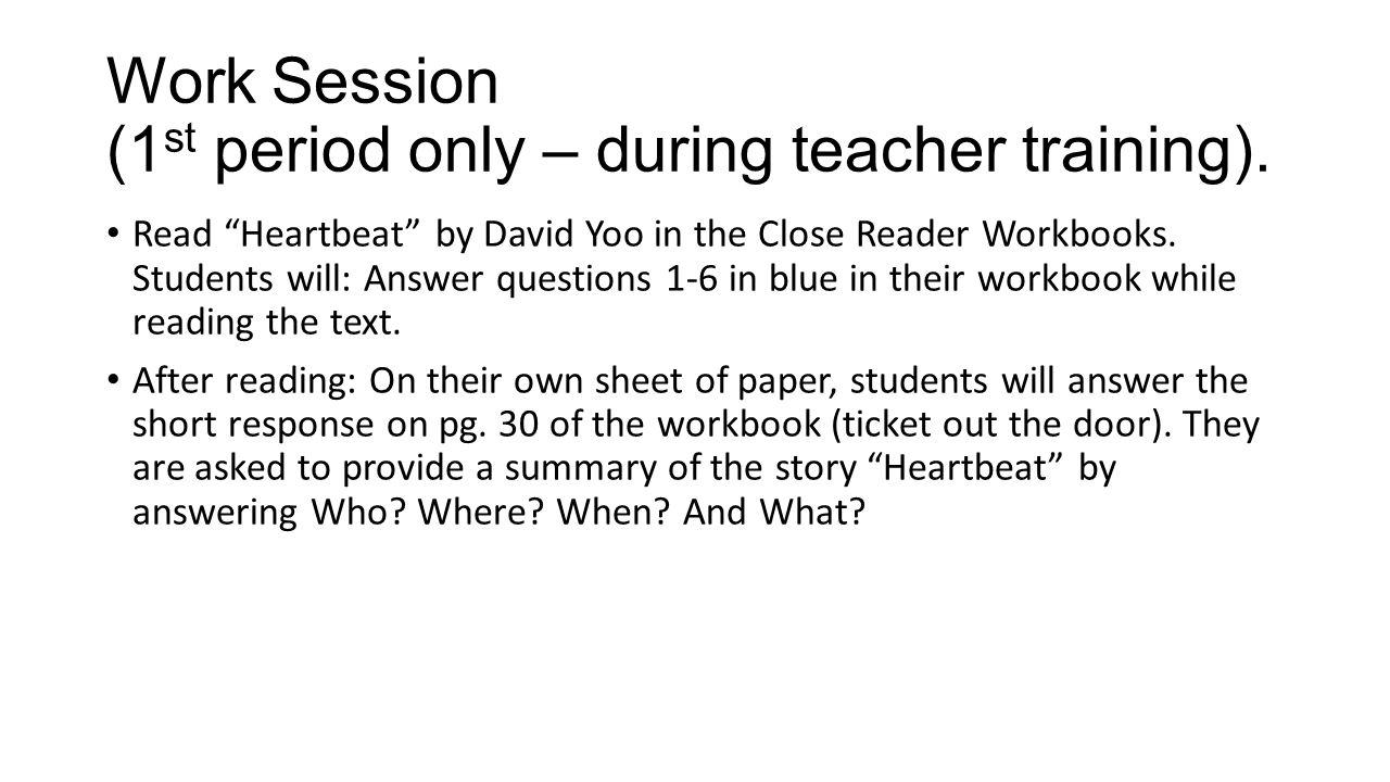 Workbooks skippers ticket workbook : Work Session (1st period only – during teacher training). - ppt ...