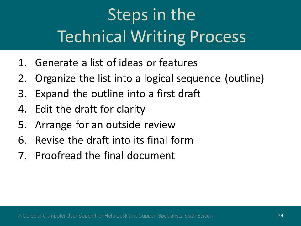 the three steps of the technical writing process 54 2: the three-step writing process business messages have both a general and a specific purpose after defining your purpose, verify that the message will be worth the time and.