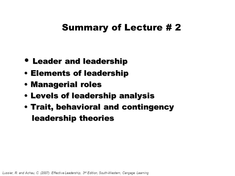 Leader and leadership Summary of Lecture # 2 Elements of leadership