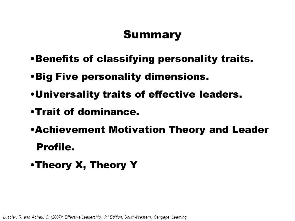 Summary Benefits of classifying personality traits.