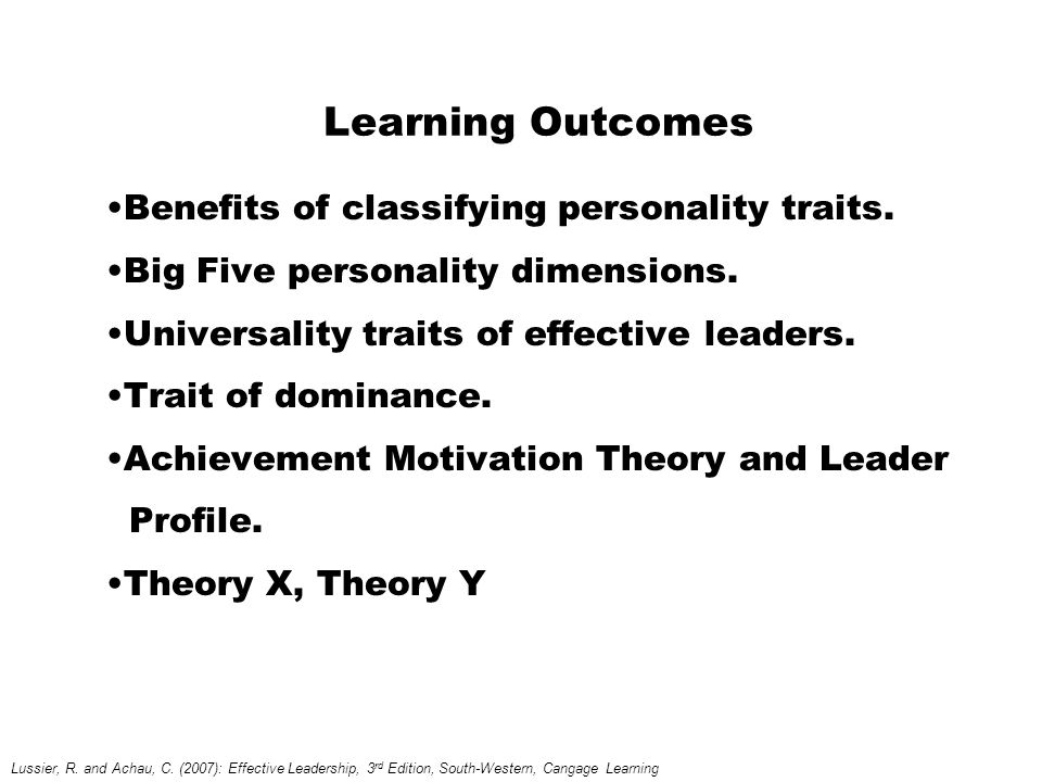 Learning Outcomes Benefits of classifying personality traits.