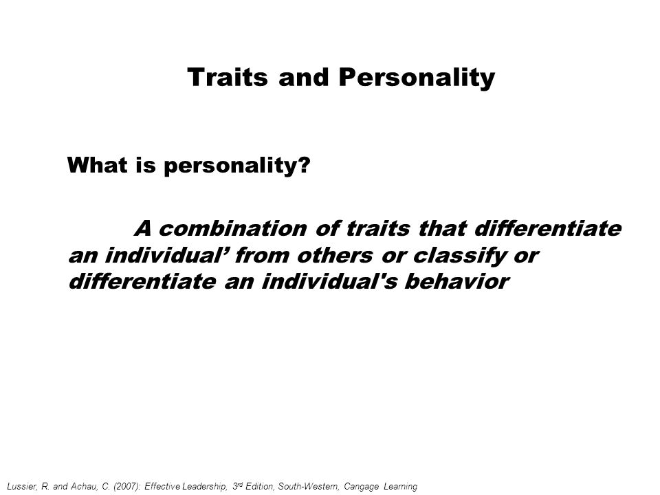 Traits and Personality