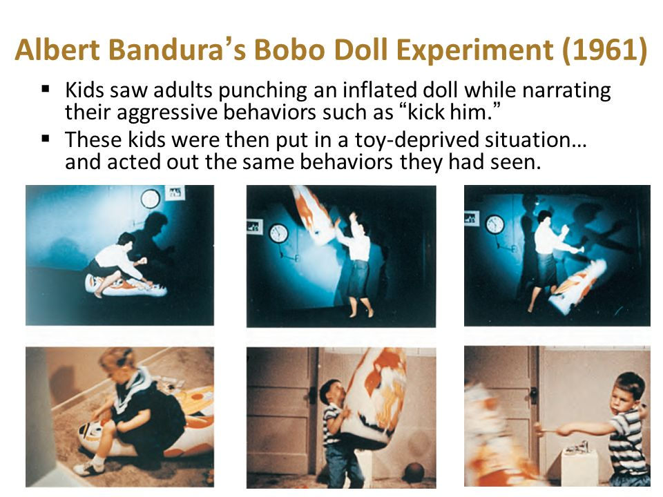 albert bandura bobo doll Start studying bobo doll experiment learn vocabulary, terms, and more with flashcards, games, and other study tools.