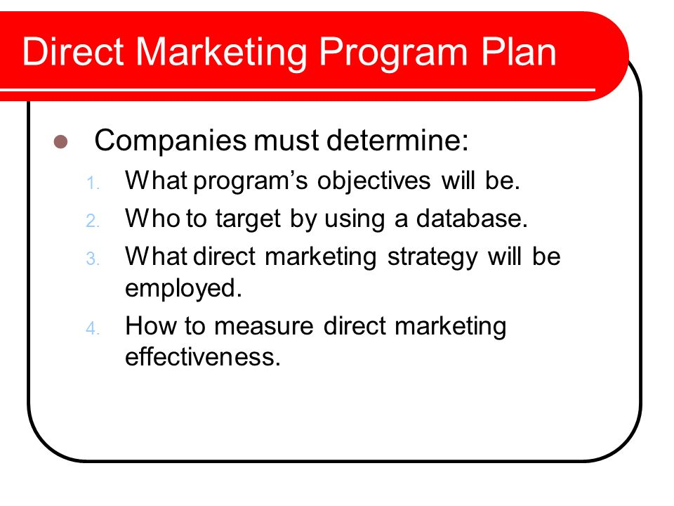 Direct marketing objectives essay