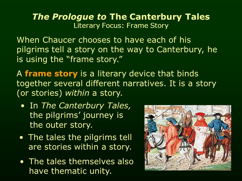 a review of story the canterbury tales What happens the canterbury tales is a frame narrative, a story told around another story or storiesthe frame of the story opens with a gathering of people at the tabard inn in london who are .