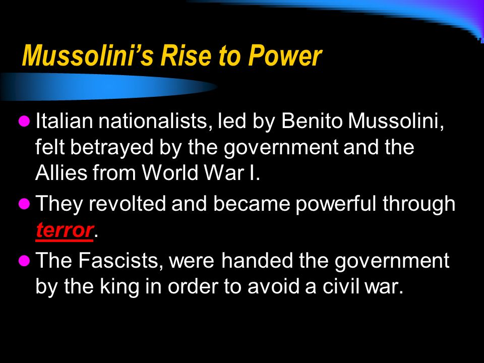 mussolini's and hitler's rise to power Essay on hitler's rise to power germany was in an exceedingly unpleasant state after the wwl the treaty of versailles, to take full blame for the war, had forced it.