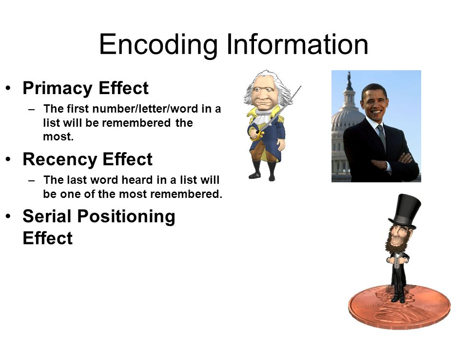 human recency and primacy effect When recalling items in a series, the primacy effect is thetendency to recall those items that are first best.