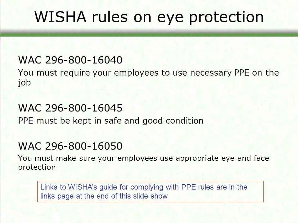 WISHA rules on eye protection