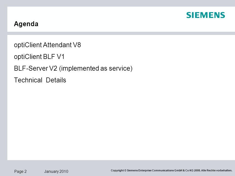 Agenda optiClient Attendant V8. optiClient BLF V1.