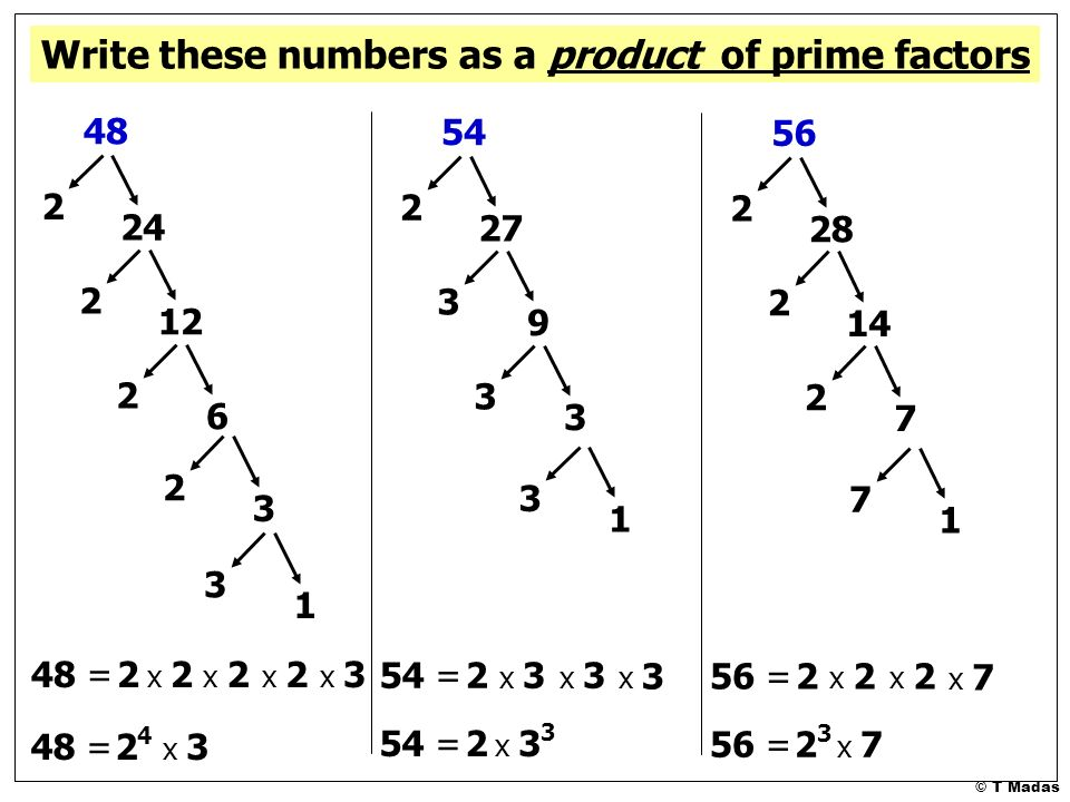 Write as a product of prime factors 48