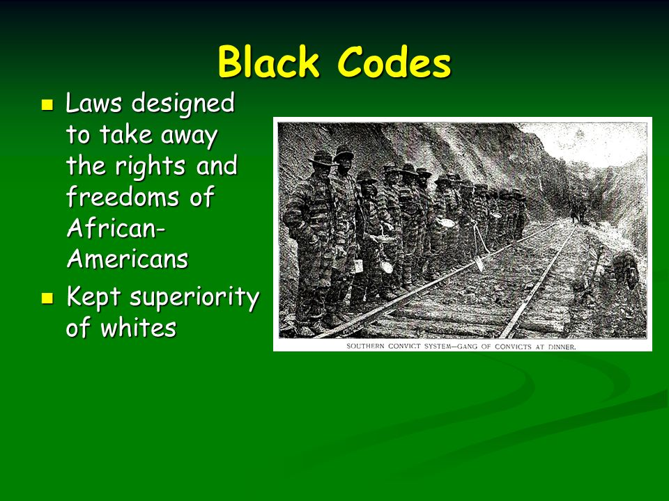black codes laws Georgia's illegal immigration crackdown laws should be called the brown codes  because of their similarity to the black codes governing.
