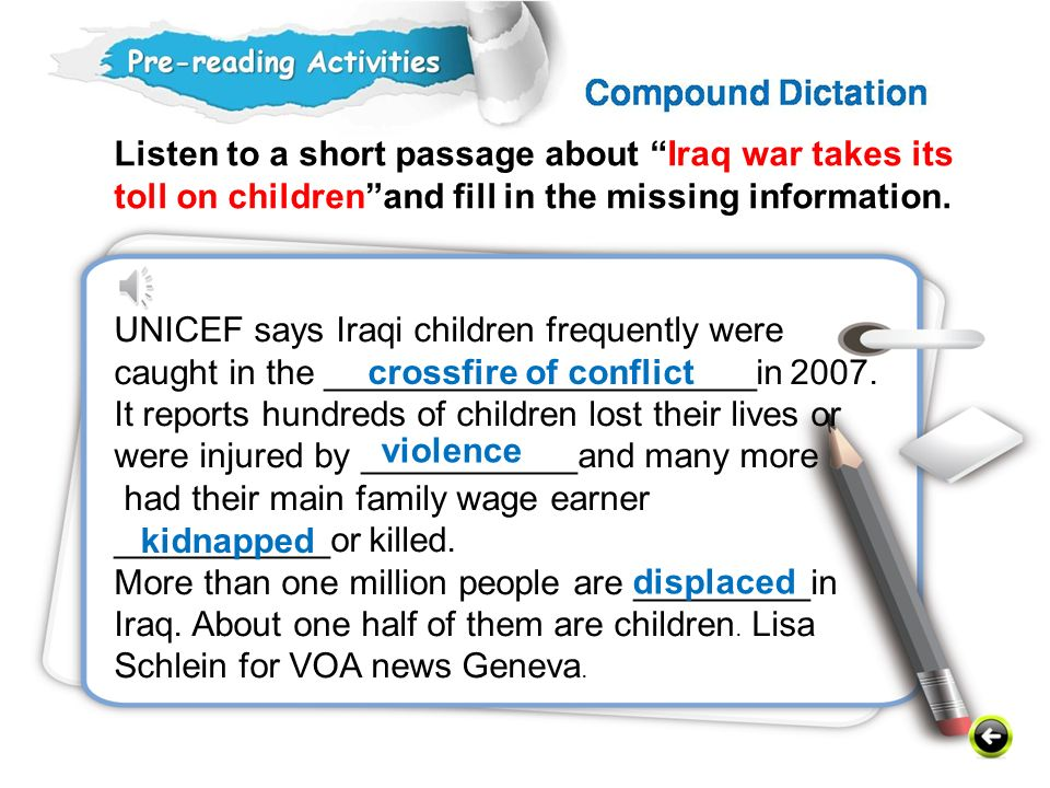 Listen to a short passage about Iraq war takes its toll on children and fill in the missing information.