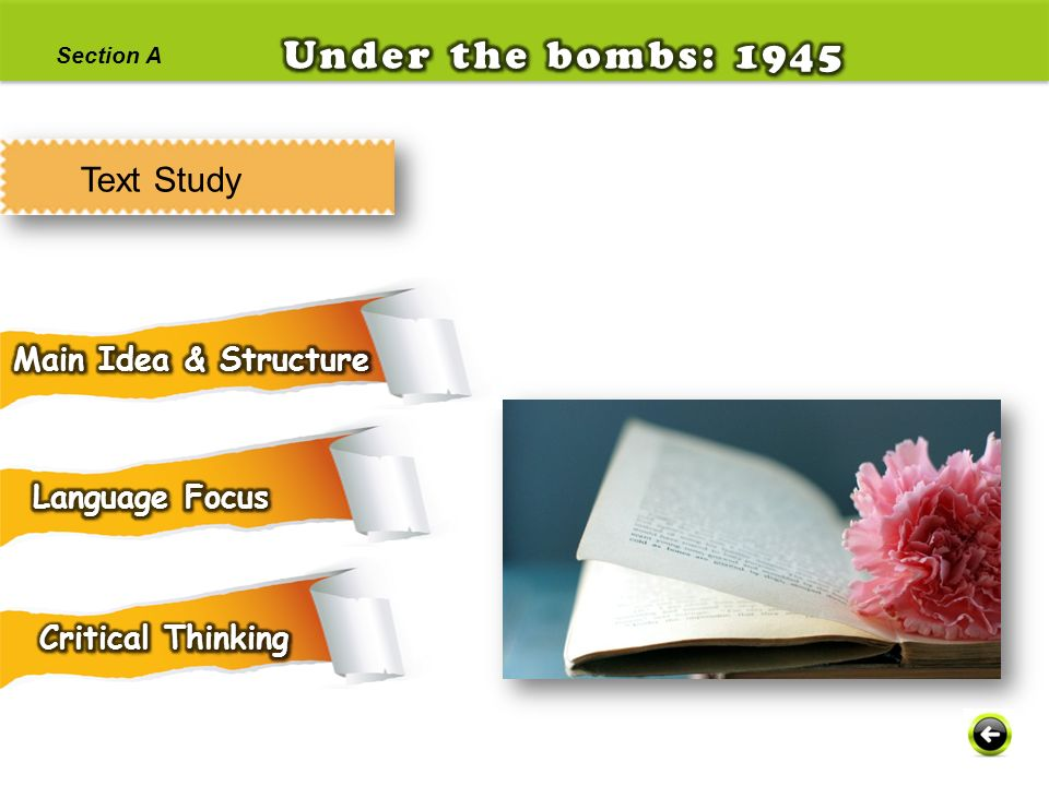 Under the bombs: 1945 Text Study Main Idea & Structure Language Focus