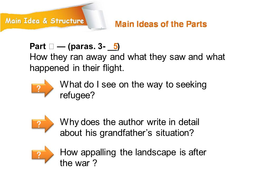 Part Ⅱ — (paras. 3- __) How they ran away and what they saw and what happened in their flight. 5. What do I see on the way to seeking refugee