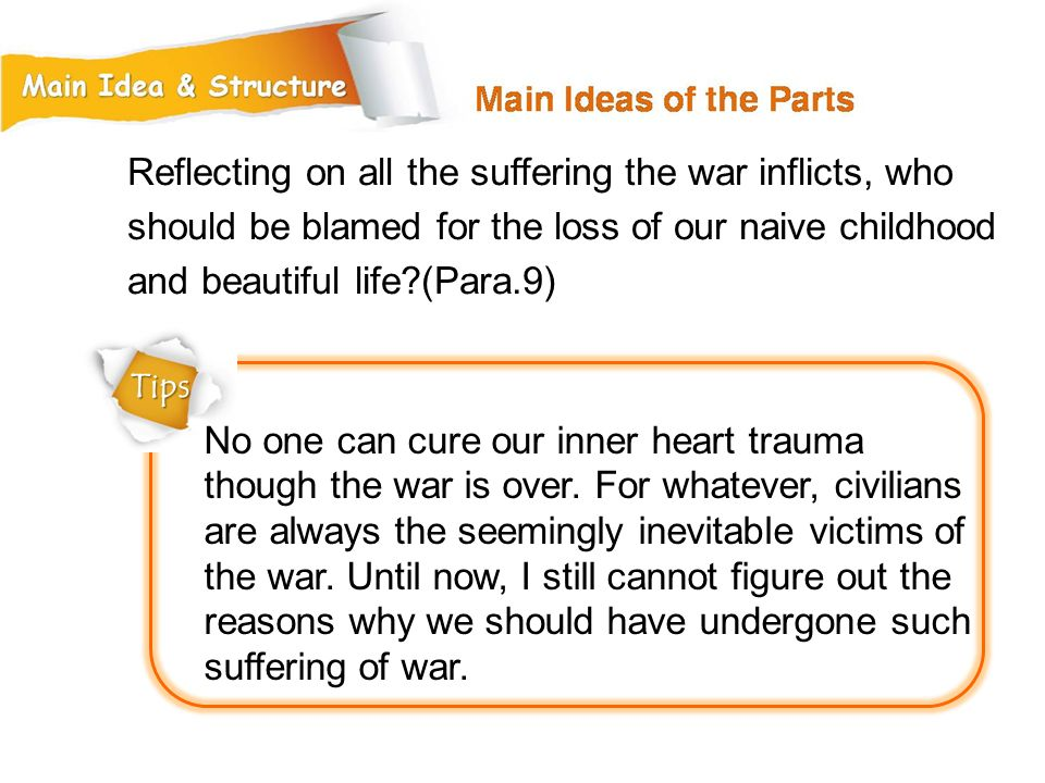 Reflecting on all the suffering the war inflicts, who should be blamed for the loss of our naive childhood and beautiful life (Para.9)