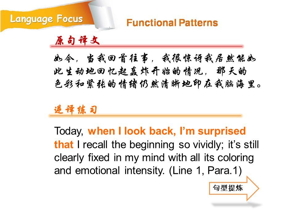 原句译文 逆译练习 如今,当我回首往事,我很惊讶我居然能如此生动地回忆起轰炸开始的情况, 那天的色彩和紧张的情绪仍然清晰地印在我脑海里。