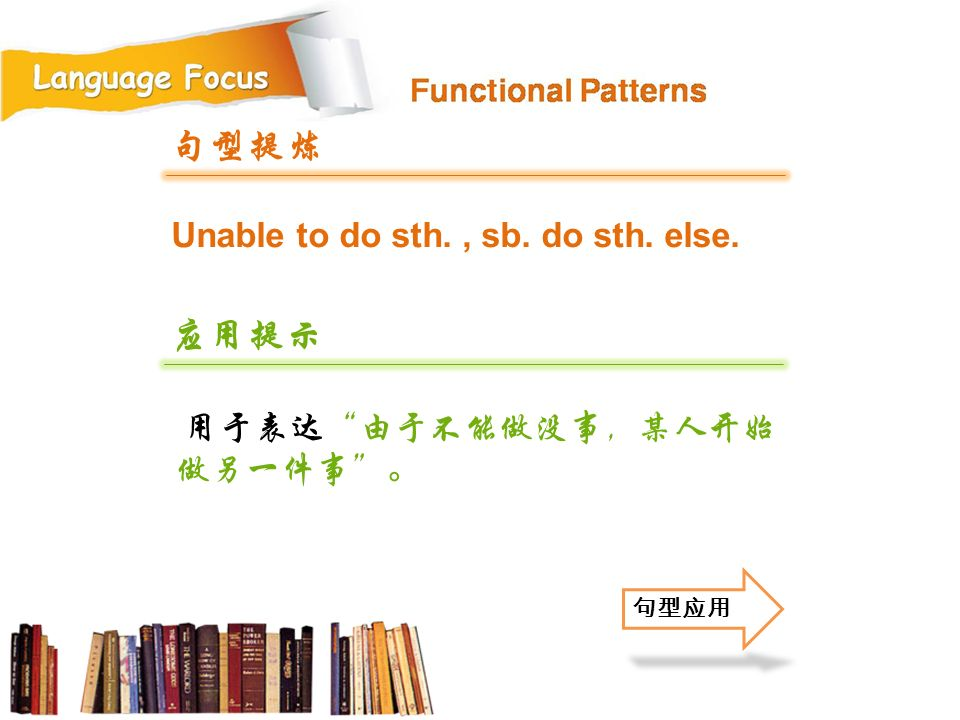 句型提炼 应用提示 Unable to do sth. , sb. do sth. else.
