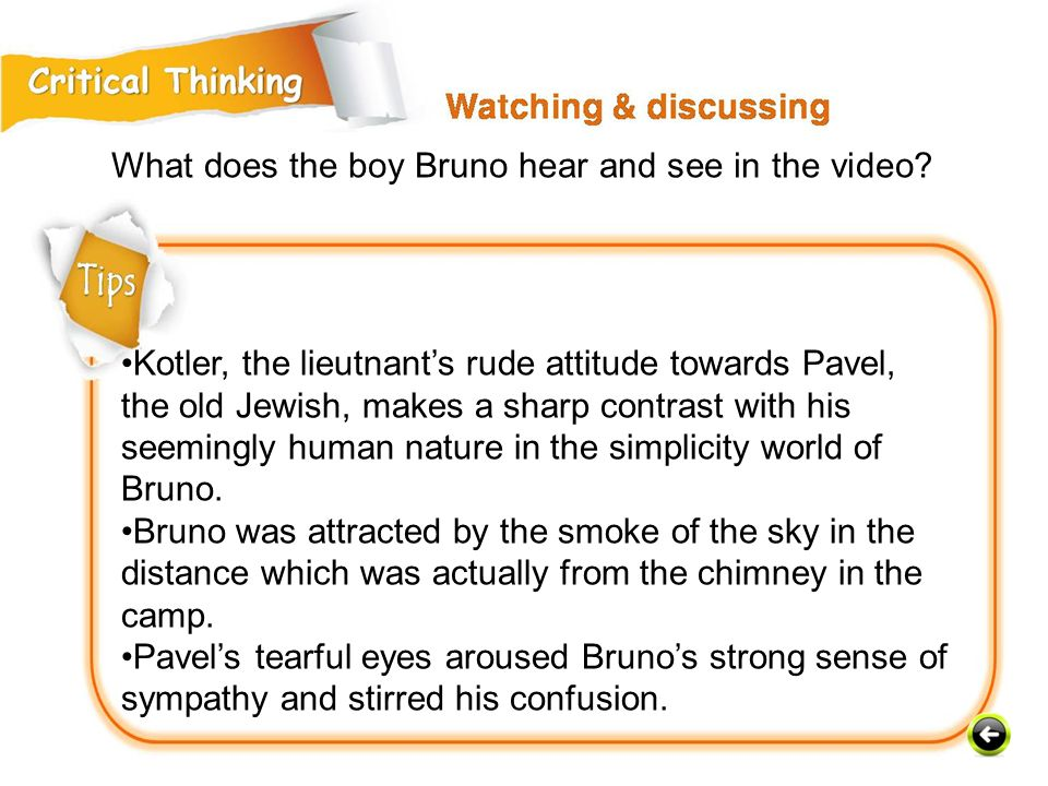 What does the boy Bruno hear and see in the video